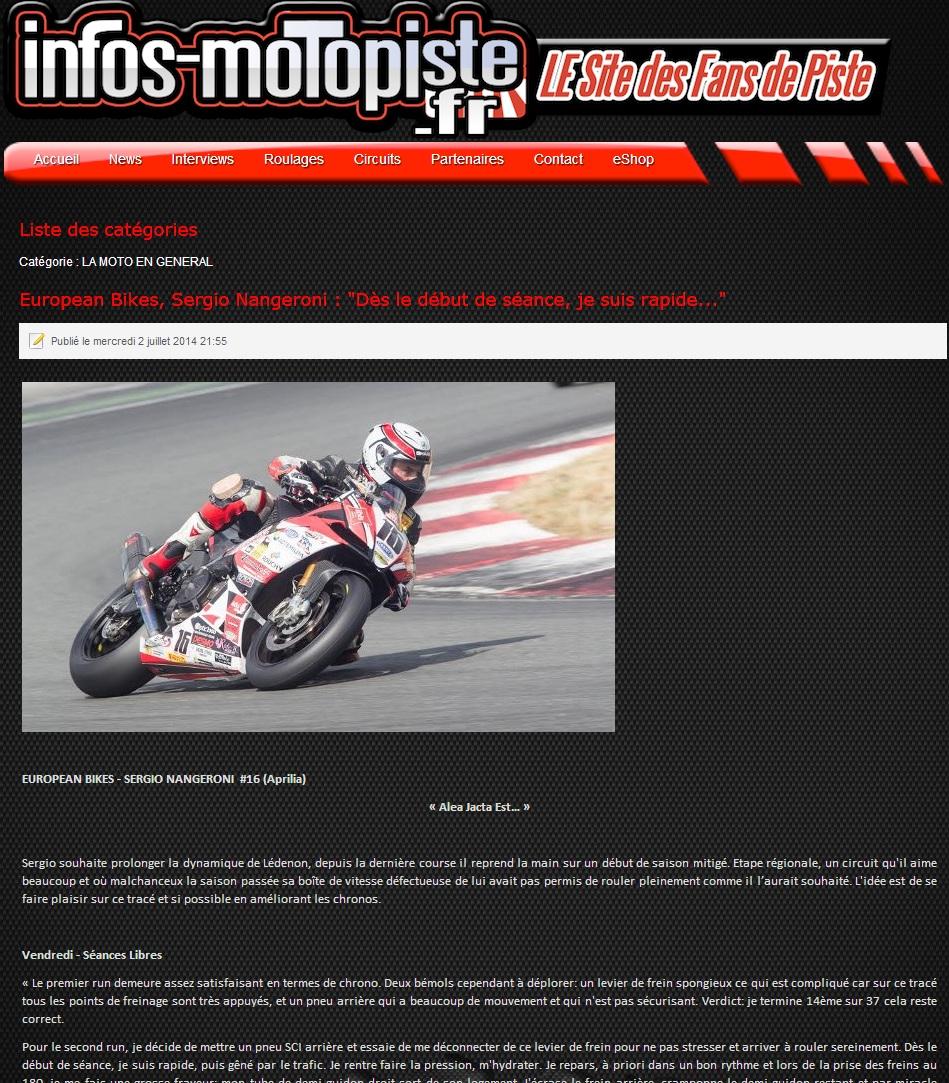 Image du site infos motos-piste.fr ou se situe le compte-rendu du week-end european bike de sergio nangeroni