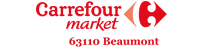 Logo Carrefour market beaumont partenaire du team volkanik endurance
