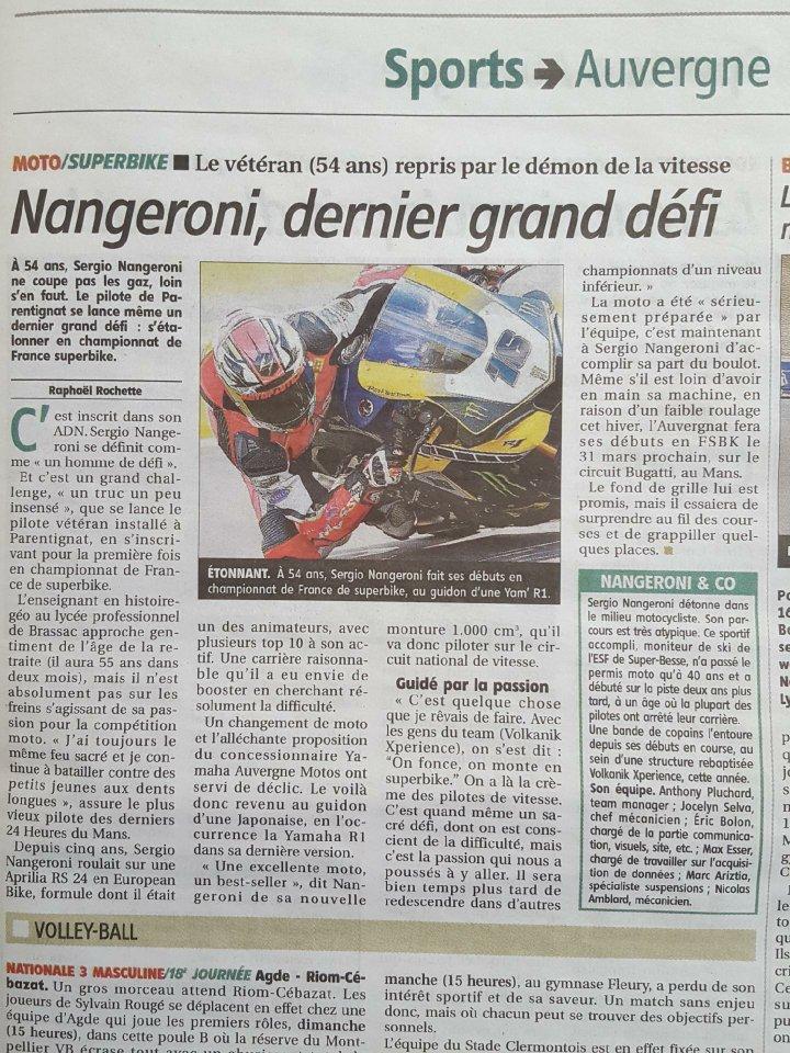 article du journal la montagne du 23 mars 2018 sur le nouveau defi de sergio nangeroni