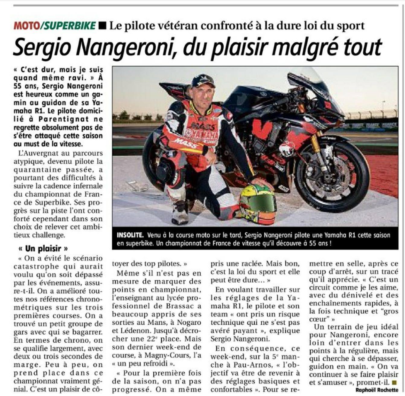 Article la montagne du 13 juillet 2018 page sport du plaisir malgré tout. Sergio nangeroni