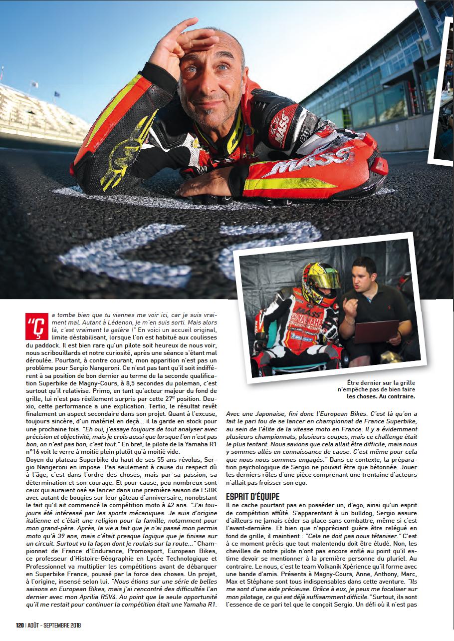 Troisieme page article sur sergio nangeroni du magazine sport bike SB113 aout/septembre 2018, elle est ou l'arrivée