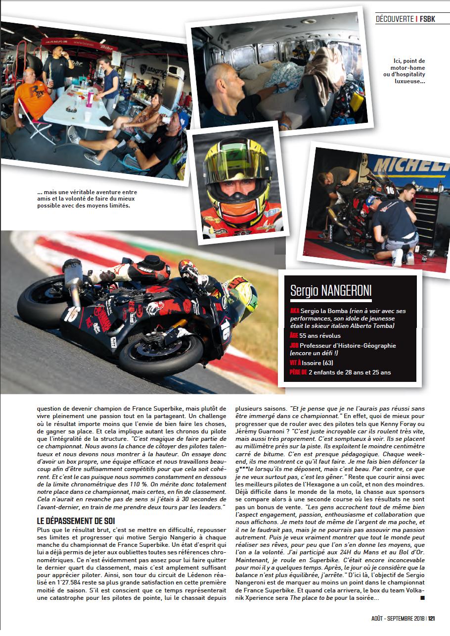 Quatrieme page article sur sergio nangeroni du magazine sport bike SB113 aout/septembre 2018